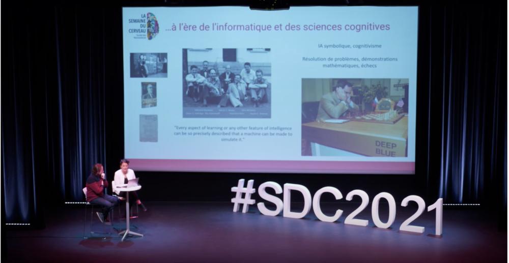 """Semaine du cerveau 2021 à Lyon : conférence """"Cerveau biologique et intelligence artificielle : quels rapports ?"""", avec Jérémie Mattout (CRNL) et Emmanuelle Reynaud (LEMC)."""