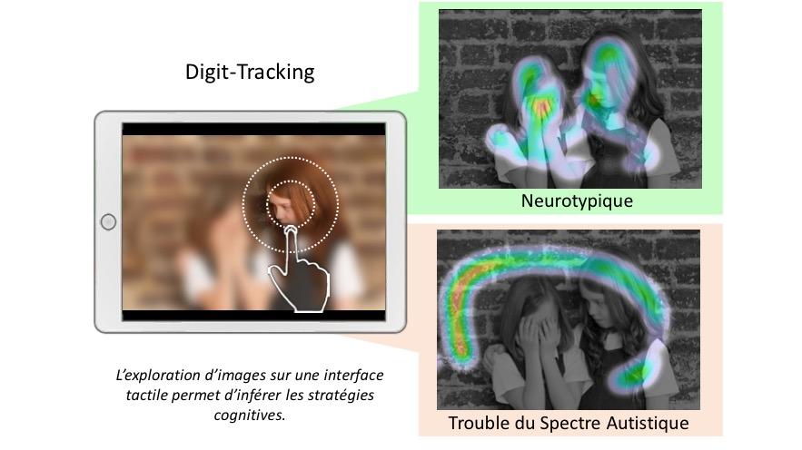 Digitrack montre bien que lorsqu'ils explorent une image contenant des scènes sociales, les sujets autistes évitent de porter le regard sur les régions contenant des visages ou des yeux.