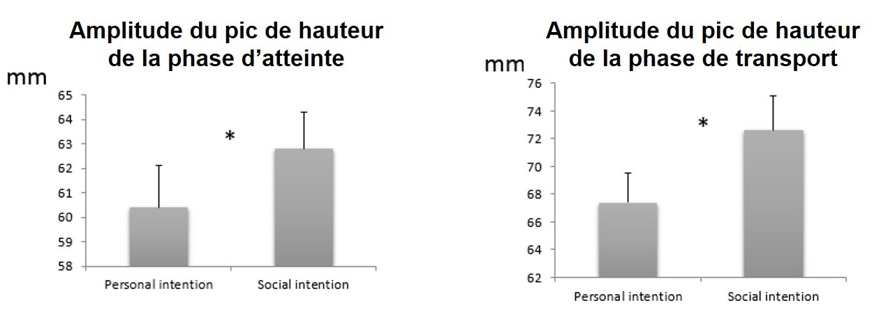 Cette figure représente l'amplitude du mouvement de saisie (gauche) et de transport (droite) des participants en mm, selon qu'ils attrapaient le totem pour eux (personal intention) ou pour le partenaire (social intention). François Quesque