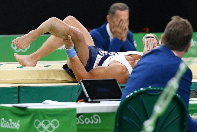 Blessure du gymnaste français Samir Aït-Saïd lors des JO de Rio en 2016. Photo : DR.